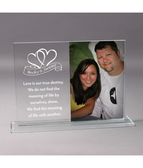 "9"" x 6-3/8"" Glass Photo Stand (Holds 4"" x 6"" Vertical Photo)"