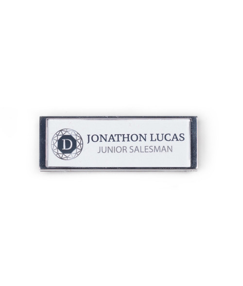 "Punch N Press Gloss Silver 1.5"" x 3"" Name Badge"