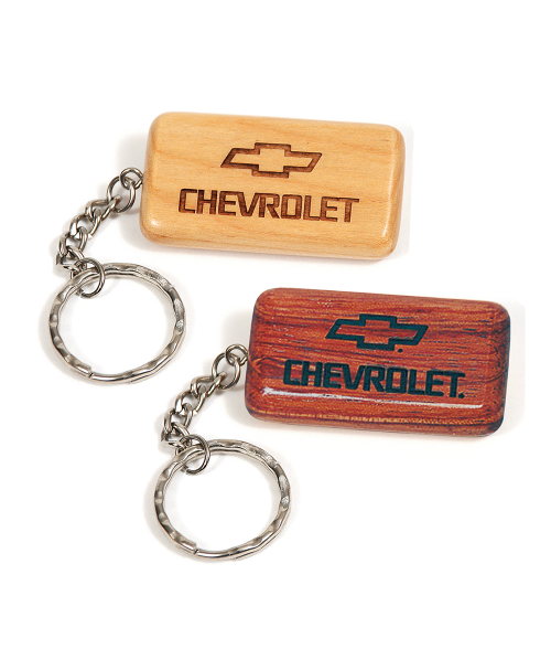 Wood Rectangle Keychain