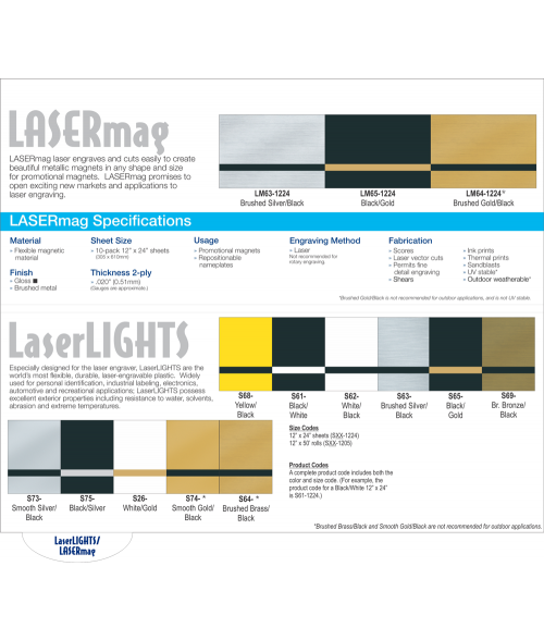 Rowmark Laserlights and Lasermag Swatch Book Page
