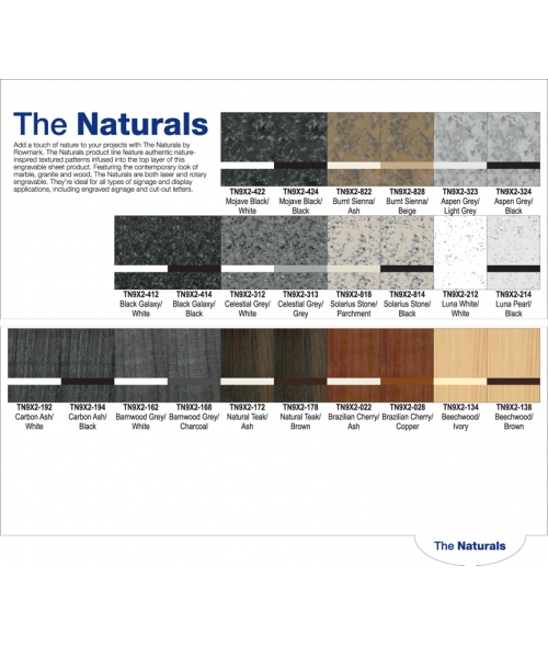 Rowmark The Naturals Swatch Book Page