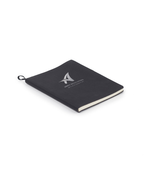"Saddle Collection Black 7"" x 9"" Laserable Leather Notebook"