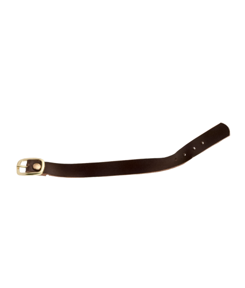 "Brown 1/2"" x 7-1/2"" Leather Strap with Gold Buckle"