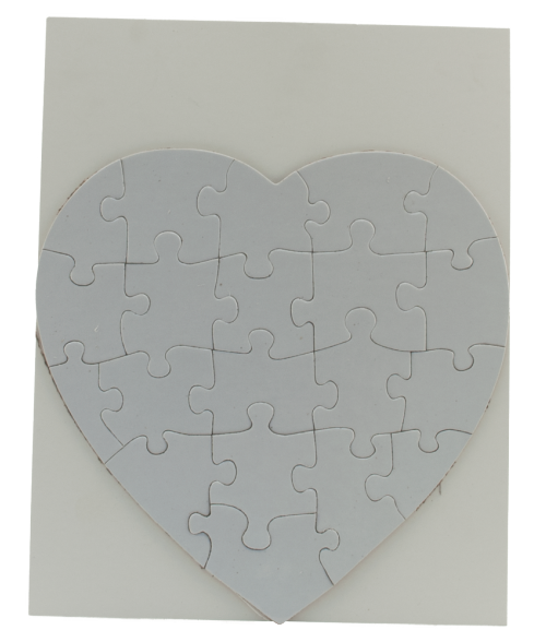"7-1/2"" x 7-1/2"" Heart Cardboard Jigsaw Puzzle (20 Pieces)"