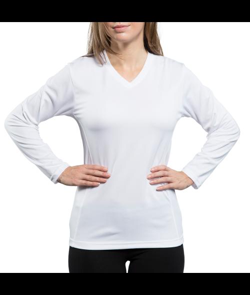 Vapor Ladies White Eco Running Long Sleeve V Neck Tee