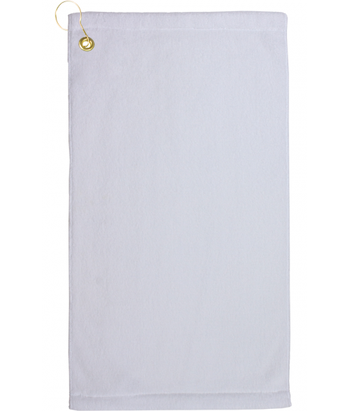 "White 11"" x 18"" Microfiber Velour Towel with Grommet and Hook"