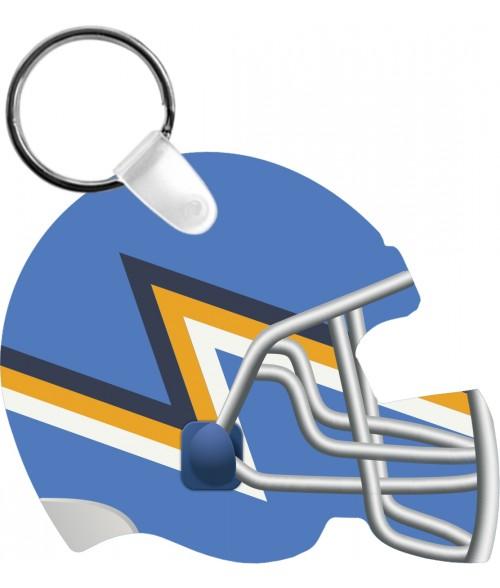 "Unisub Gloss White 2-3/8"" x 2-3/4"" 2-Sided Aluminum Football Helmet Key Chain"