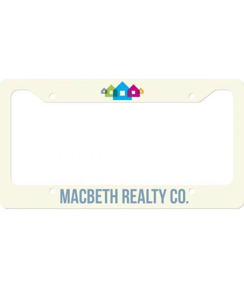 "Unisub White 6-1/2"" x 12-1/4"" .030"" Aluminum License Plate Frame (Flat Bottom)"