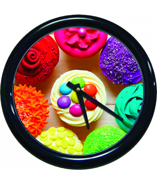 "Unisub Black 10"" Round Wall Clock Kit with Plastic Lens"