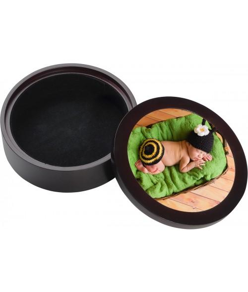 """Unisub Mahogany 5-1/2"""" Round Jewelry Box"""