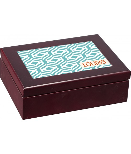 "Unisub Mahogany 6"" x 8"" Jewelry Box"