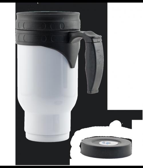 White Stainless Steel Travel Mug with Insert