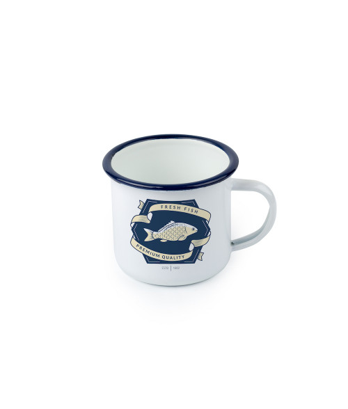12oz Blue Edge Camp-Style Enamel Mug