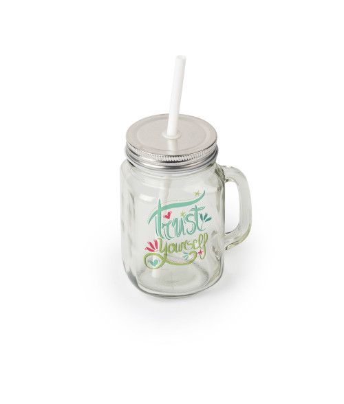 12oz Square Clear Glass Mason Jar with Handle, Lid and Straw